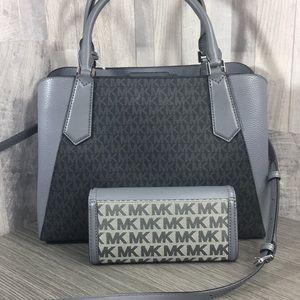 Michael Kors Bags - 2pcs MK Kimberly Satchel & Fulton Jacquard Wallet